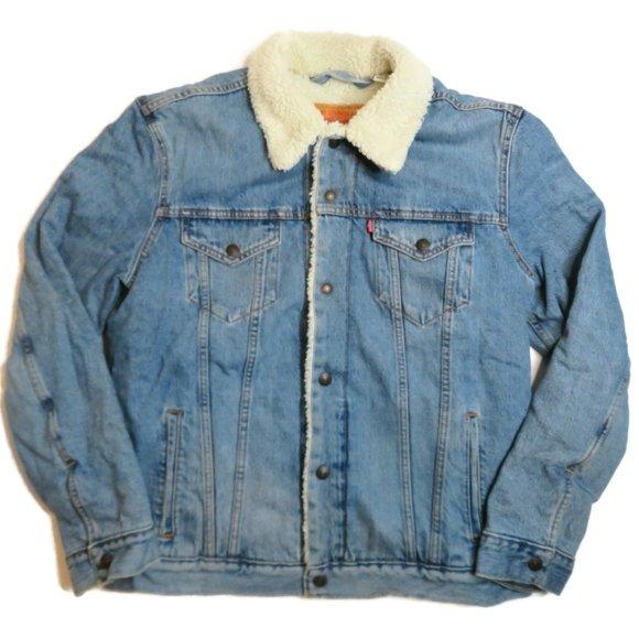 Levis Sherpa Lined Denim Trucker Jacket Light Blue Mens Large Snap Button